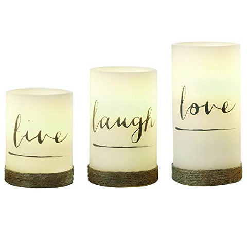 3-Piece Flickering LED Candle Set with Daily Timer by Order Home Collection, Flameless Candles, Real Wax, Battery Powered, Light Dances and Flickers, Twine-Wrapped Tiered Pillars (Live, Laugh, Love) - llightsdaddy - MerchSource - Flameless Candles