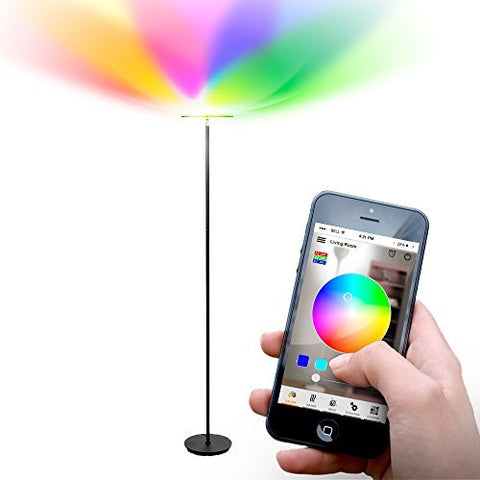 Brightech Kuler Sky - Color Changing Torchiere LED Floor Lamp - Dimmable, iOs & Android App Enabled Light - Remote Control Lamp for Living Rooms, Game Rooms & Bedrooms - Adjustable Pivoting Head - Bla - llightsdaddy - Brightech - Lamp Shades