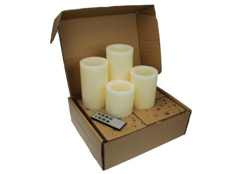 Flameless Candles; LED Candles with Remote Control, Pillar Real Wax Candles, 3-inch, 4-inch, 5-inch and 6-inch Candles Set of 4 (ROUND EDGE) - llightsdaddy - LYRA CANDLE - Wall Plates