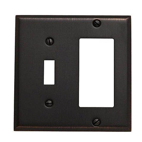 Baldwin 4743.112.CD Classic Square Beveled Edge GFCI Single Toggle Combo Switch Plate, Venetian Bronze - llightsdaddy - Baldwin - Wall Plates