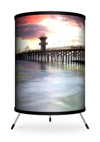 "Lamp-In-A-Box TRI-FAR-SDSE4 Featured Artists - Sean Davey""Seal Beach 4"" Tripod Lamp, 14"" x 8"" x 8"""