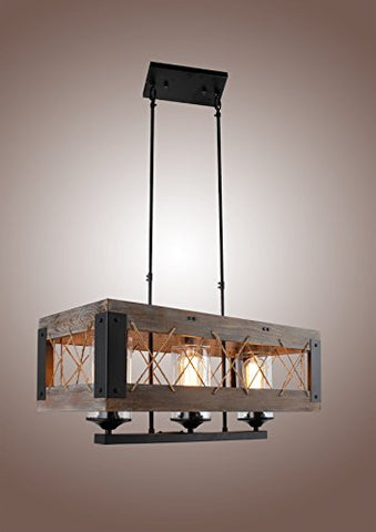 Decomust upc506 Wood Aged Metal Rectangular Chandelier Brown - llightsdaddy - DecoMust - Island Lights