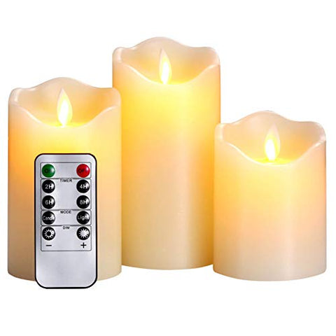 "qinxiang Flameless Candles,LED Candles Set of 4 5"" 6"" H(3"" D) Flickering Flame with Remote and Timer Real Wax Pillar 