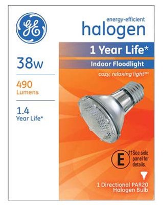 G E Lighting 69163 Halogen Floodlight Bulb, Indoor, Par 20, 38-Watt - Quantity 6