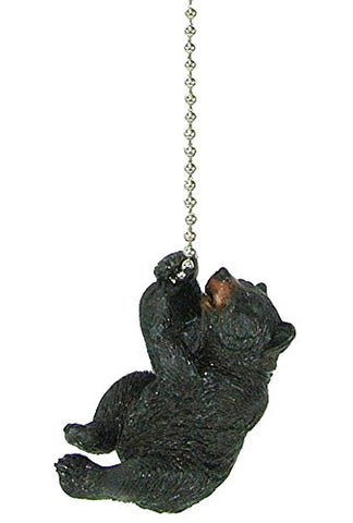 Rustic Black Bear climbing Ceiling Fan Pull chain extender - Lodge Decor