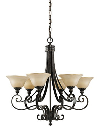 Feiss F2187/6LBR Cervantes Chandelier, Liberty Bronze, 6-Light (Dia H: 28''), 60 Watts Max, 6-Candelabra G16-1/2 60w 120v-Not Included