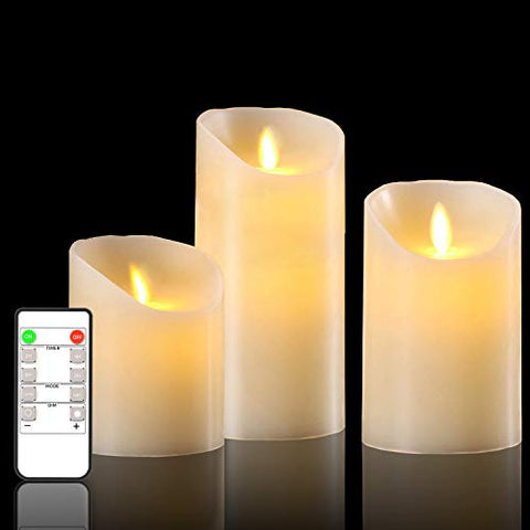 "Flameless Candles Battery Operated Candles 4"" 5"" 6 "" Set of 3 Ivory Real Wax Pillar LED Candles with Remote and Cycling 24 Hours Timer - llightsdaddy - YINUO LIGHT - Flameless Candles"