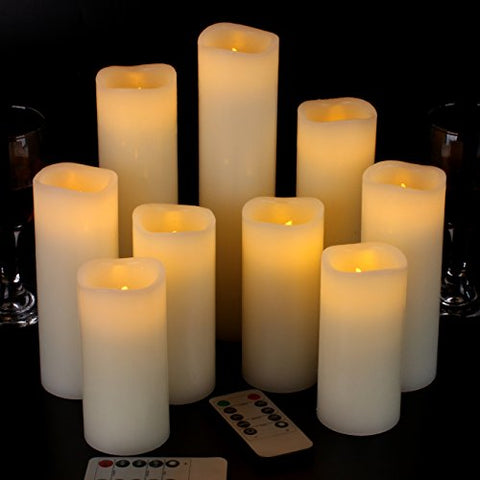 "Vinkor Flameless Candles Battery Operated Candles 4"" 5"" 6"" 7"" 8"" 9"" Set of 9 Ivory Real Wax Pillar LED Candles with 10-Key Remote and Cycling 24 Hours Timer - llightsdaddy - Vinkor - Flameless Candles"
