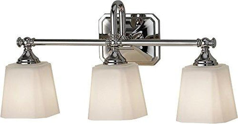 "Feiss VS19703-PN Concord Glass Wall Vanity Bath Lighting, Chrome, 3-Light (21""W x 10""H) 300wattsllightsdaddy.myshopify.com lightsdaddy"