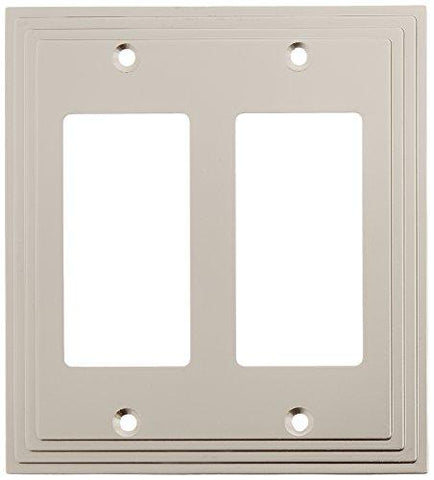 Amerelle Steps Double Rocker Cast Metal Wallplate in Satin Nickel - llightsdaddy - AmerTac - Lamp Post Mounts