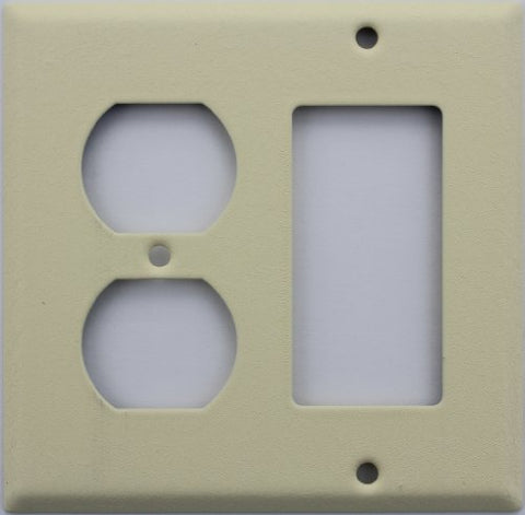 ivory Wrinkle 2 Gang Wall Plate - 1 Duplex Outlet 1 GFI/Rocker Opening - llightsdaddy - Classic Accents - Wall Plates