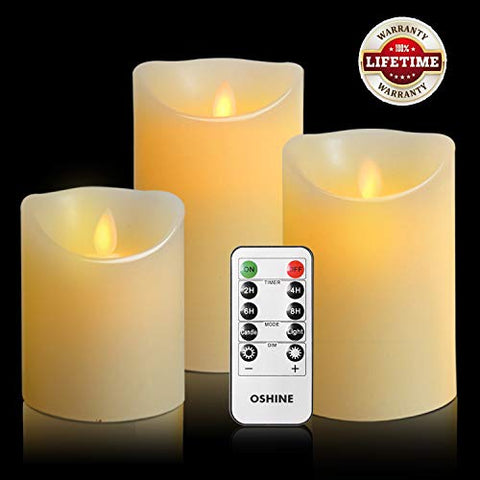 "OSHINE flameless Candles, flameless Candlestick, flameless Battery Candles, Battery Remote Control Candles, LED Candles 3 Piece Set 4""5""6""H (3.15""D) Flash Flame with Remote Control and timed True Wax - llightsdaddy - e.m.a co.,Ltd - Flameless Candles"