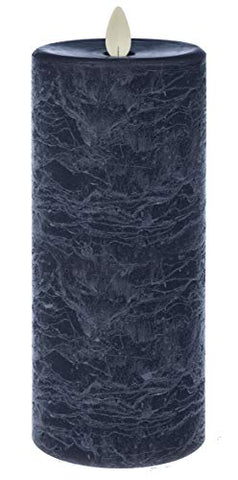 LED Textured Pillar Marbled Blue 7 x 3 Wax Flameless Candle with Timer - llightsdaddy - Ganz - Flameless Candles