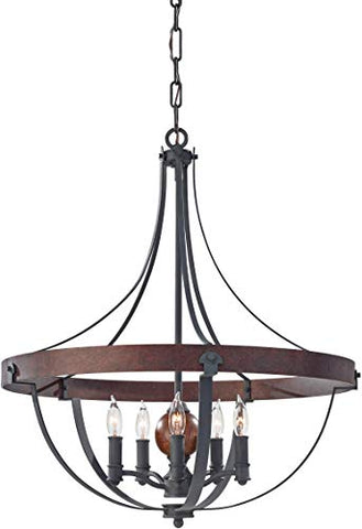 "Feiss-F2794/5AF/CBA-Alston-Candle-Chandelier-Lighting,-Iron,-5-Light-(24""Dia-x-27""H)-300watts"