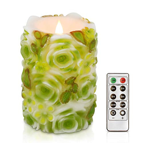 simpdecor Flameless Candle 3D Flickering Pillar Flameless Battery Operated LED Candles with Timer and Remote for Home Decor Birthday's (Green) - llightsdaddy - Jia Ying Xiang - Flameless Candles