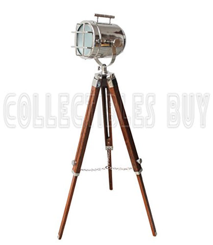Vintage Maritime LED Searchlight With Nautical Brown Tripod Authentic Floor Lamp Unique Spotlight - llightsdaddy - Collectibles Buy - Lamp Shades