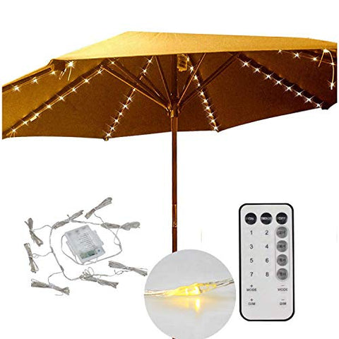 Decorative String Lights for Patio Cantilever Umbrella,8-Ribs 104 LED,Battery Powered,Remote Control,Timer,Dimmable,8 Mode,Easy to Install,Hanging Umbrellas Lights - Warm White - llightsdaddy - Smart Direct - Umbrella Lights