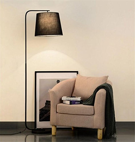 Modern Reading Floor Lamp For Living Room Bedroom Hotel And Black Fabric Lampshade Wrought Iron Base With Foot Switch - llightsdaddy - DHXY Floor Lamps - Floor Lamps