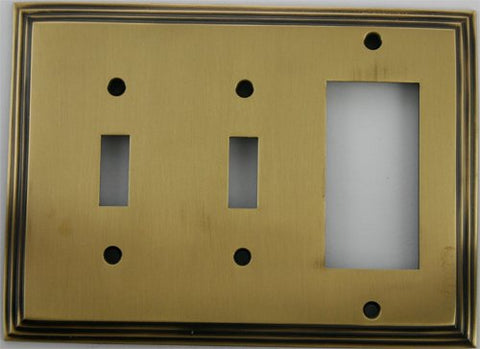 Deco Step Style Antique Brass 3 Gang Wall Plate - 2 Toggle 1 GFI/Rocker - llightsdaddy - Classic Accents, Inc. - Wall Plates