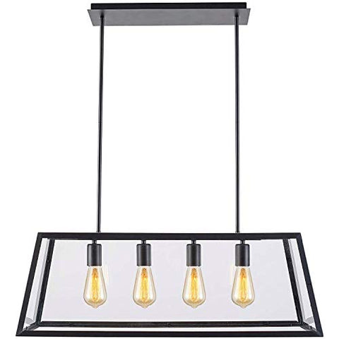 T&A Glass Linear Pendant Light, 4-Lights Industrial Island Light with Matte Black Shade and Clear Glass Panels,Modern Industrial Chandelier - llightsdaddy - T&A TALENT AND ART - Island Lights