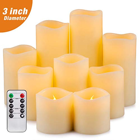 "Yutime Flameless Candle Set of 9 (D 3"" x H 3"" 4"" 5"" 6"" 7"" 8"") Battery Operated LED Pillar Real Wax Flickering Candles with Remote Control Timer - llightsdaddy - Lingyun - Flameless Candles"