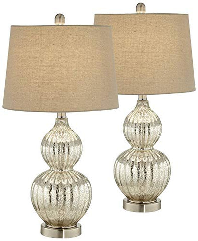 Lili Modern Table Lamps Set of 2 Fluted Mercury Glass Double Gourd Drum Shade for Living Room Family Bedroom Bedside - Regency Hill