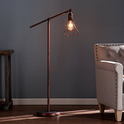 Steel Teige Floor Lamp (OS2415TL). With Rustic Edison Styled Led 150 W Bulb, A Pulley System With An Adjustable Lever That Rotates A Full 360 Degrees. Finish In Copper, Bronze. - llightsdaddy - Upton Home - Lamp Shades