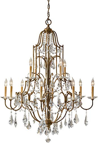 "Feiss-F2479/8+4OBZ-Valentina-Crystal-Candle-Chandelier,-12-Light-720-Watts-(37""-Dia-x-46""-H),-Bronze"