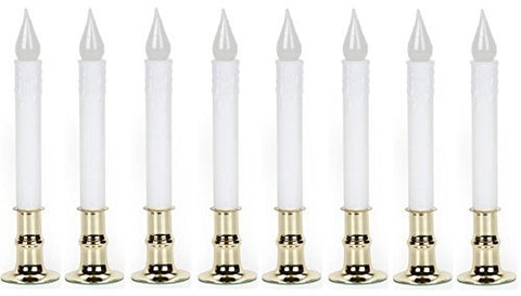 "Darice 6204-02WW Battery Operated Warm White 8-1/2"" LED Window Candle w/ Timer - Quantity 8 - llightsdaddy - Darice Crafts - Flameless Candles"
