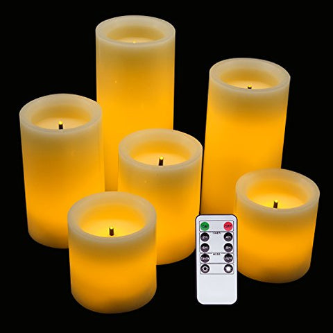 "Eldnacele LED Flameless Flickering Candles Optical Fiber Wick with Remote and Timer, Battery Operated Wax Candles 6 Pack Decoration(D3"" x H3"" 4"" 5"" 6""7"") - llightsdaddy - Eldnacele - Flameless Candles"