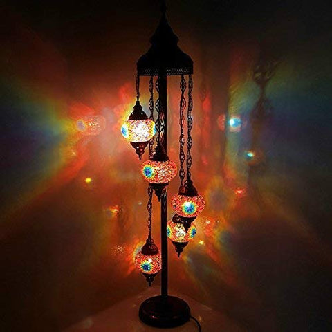 Turkish Moroccan Tiffany Style Glass Mosaic Floor Lamp Night Light - MC7 X 5 Bulb Floor Lamp - llightsdaddy - LaModaHome - Outdoor Floor Lamps
