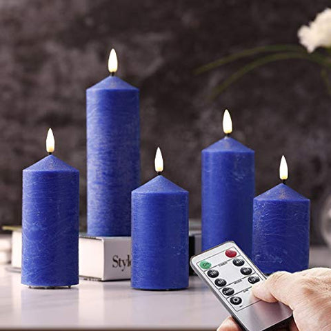 Set of 5 Blue Frost Matte Water Ripple Flameless Flickering Pillar Thin Candles,Ice Crack Blue Wax Candles with Remote Control - llightsdaddy - NONNO&ZGF - Flameless Candles