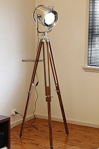 DESIGNER CHROME VINTAGE INDUSTRIAL TRIPOD FLOOR LAMP NAUTICALMART SPOT LIGHT FLOOR LAMP - llightsdaddy - THORINSTRUMENTS (with device) - Lamps