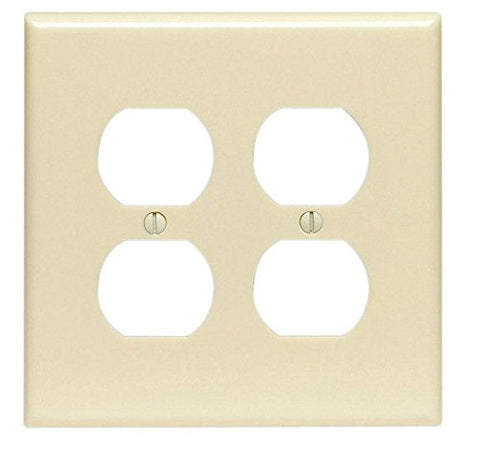 Leviton 80516-I 2 Duplex Midway Size Wall Plate, 1 Gang, 4-7/8 In L X 3-1/4 In W 0.255 In T, Smooth Ivory - llightsdaddy - Leviton - Wall Plates