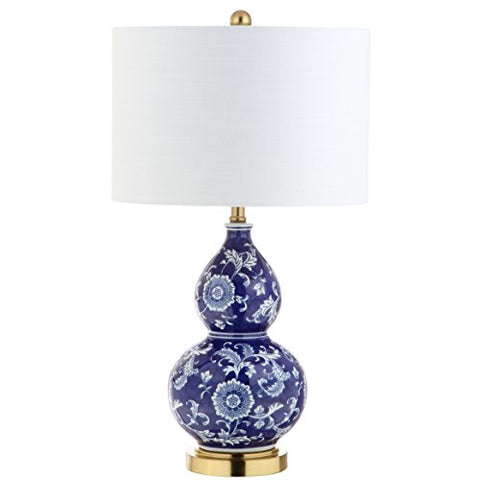"Lee 27"" Ceramic Chinoiserie LED Table Lamp, Blue/White, Classic, Traditional, Bulb Included"