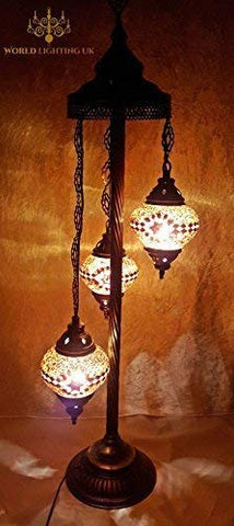 Turkish Moroccan Tiffany Style Glass Mosaic Floor Lamp Night Light - G17 X 3 Bulb Floor Lamp - llightsdaddy - LaModaHome - Outdoor Floor Lamps
