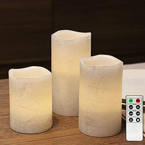 Silver Flameless Led Candles with 4/8hrs Timer, Battery Operated Pillar Candles with Remote Control, Warm White Flickering Light, Textured Wax Finish, Long Lasting Batteries Included - Set of 3 - llightsdaddy - Rhytsing - Flameless Candles