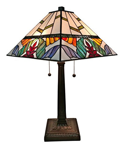 "Tiffany Style Table Lamp Banker Mission 22"" Tall Stained Glass Tan Purple Brown Yellow Orange Green Floral Flower Vintage Light Living Room Bedroom Handmade Gift AM305TL14 Amora Lighting"