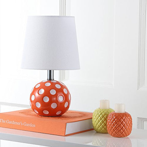 Safavieh Kids Lighting Collection Polka Dot Orange and White Mini Table Lamp