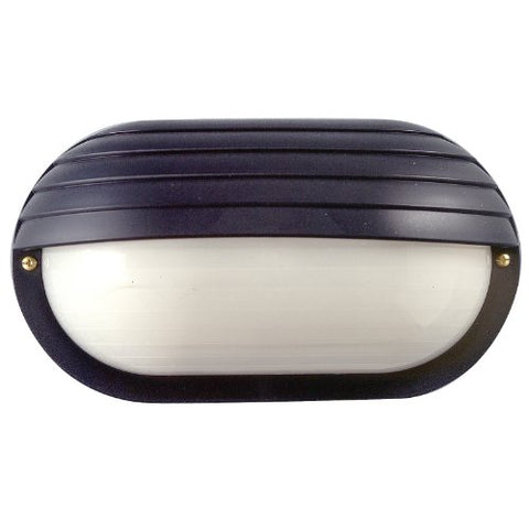 Sunlite 47208-SU DOD/EBH/BK/FR/MED Decorative Outdoor Eurostyle Oblong Hooded Polycarbonate Fixture, Black Finish, Frosted Lens