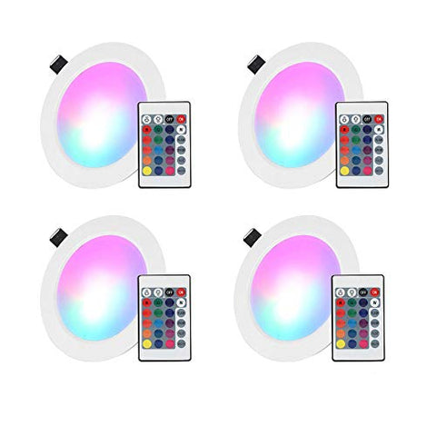 Led Recessed Lighting, 4 Inch 10W Rgb Recessed Light Color Changing W/Remote Control Led Ceiling Panel Light 4 Pack - llightsdaddy - Esbaybulbs - Wall Plates