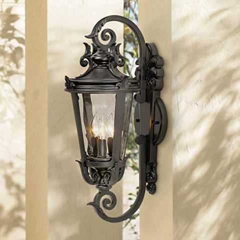 Casa Marseille Traditional Outdoor Wall Light Fixture Mediterranean Black Double Scroll Arm 21 1/2 Clear Hammered Glass for Exterior Porch Patio - John Timberland