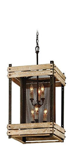 Troy Lighting Merchant Street 6-Light Pendant - Rusty Iron with Salvaged Wood Slats Finish and Iron Mesh Shade