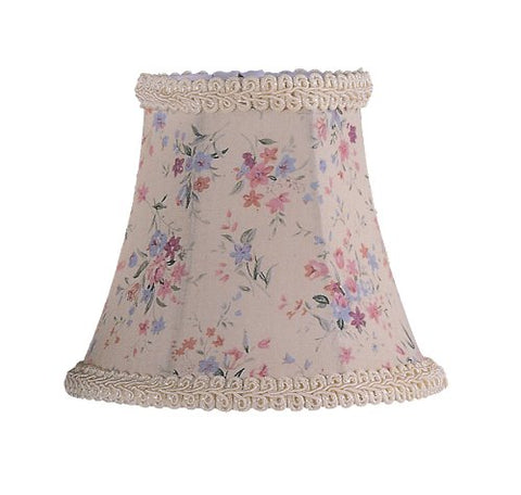 "Livex Lighting S272 Bell Clip Chandelier Shade With Fancy Trim, 1"" x 1"" x 1"", Cream Floral Print"