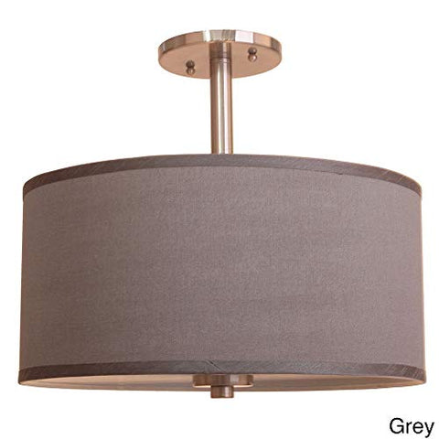 "Woodbridge Lighting 13435STN-S11502 3-Light Single Shade Satin Nickel Semi-Flush Mount, 15"", Grey"