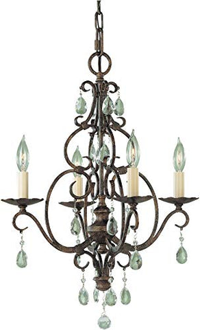Feiss F1904/4MBZ Chateau Swarovski Crystal Candle Chandelier Lighting Bronze 4-Light (17Dia x 22H) 240watts