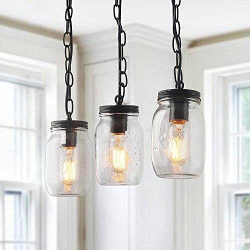 LNC Pendant Lighting for Kitchen Island Farmhouse Mason Jar Chandeliers for  Dining Rooms, A03222