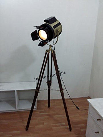 Classic Theatre Spot Light with Solid Wooden Tripod - Floor Lamp Vintage/Retro - llightsdaddy - THORINSTRUMENTS (with device) - Lamp Shades