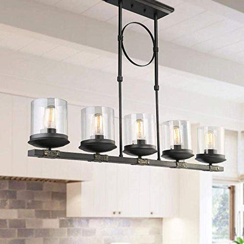 LNC Kitchen Island Black Modern Hanging Light Fixture, for Dining Room, Use 5 E26 Bulbs (Bulbs not Included), A03199 - llightsdaddy - LNC - Island Lights