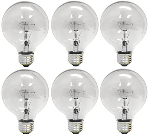 GE 12983-6 25 Watt Globe G25 Light Bulb, Crystal Clear, 6-Pack - llightsdaddy - GE - Incandescent Light Bulbs